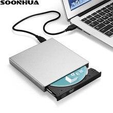 SOONHUA USB 2,0 портативный ультра тонкий внешний слот-в DVD-RW CD-RW CD DVD rom плеер привод писатель Rewriter горелки для ПК