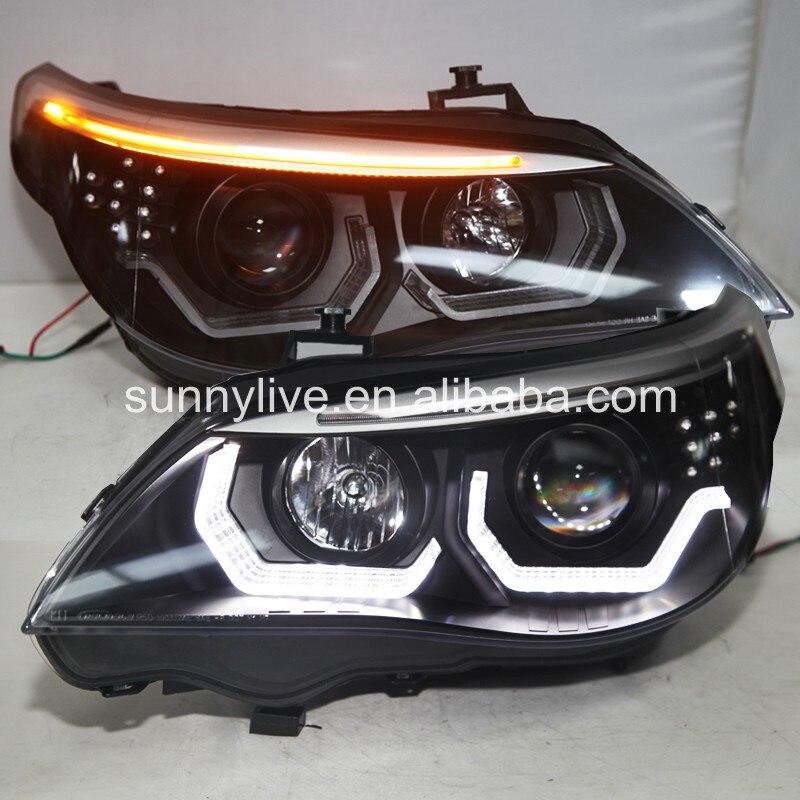 2008-2010 Année E60 523i 525i 530i led Tête lampe pour bmw e60 d'origine Avec kit hid