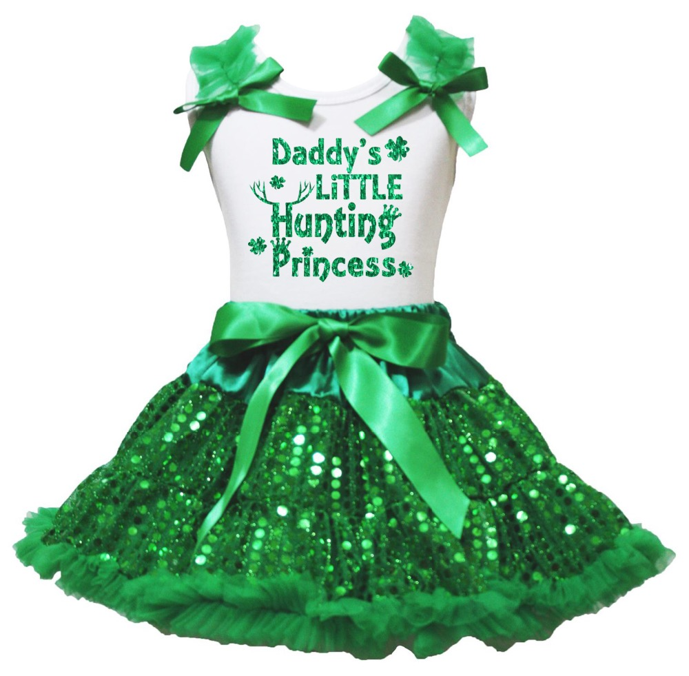 White Cotton Shirt Green Sequins Skirt Girl Outfit Set Happy St Patrick's Day Costume 1-8y LKPO0071 my 1st st patrick day clover white top green bling sequins girls skirt set 1 8y