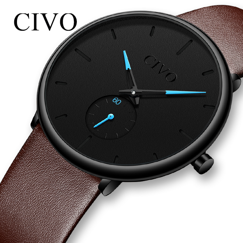 CIVO Fashion Casual Quartz Mens Watches Top Brand Luxury Sports Waterproof Male Clock Brown Leather Strap Ultra Thin Watches Men|Quartz Watches| |  - title=