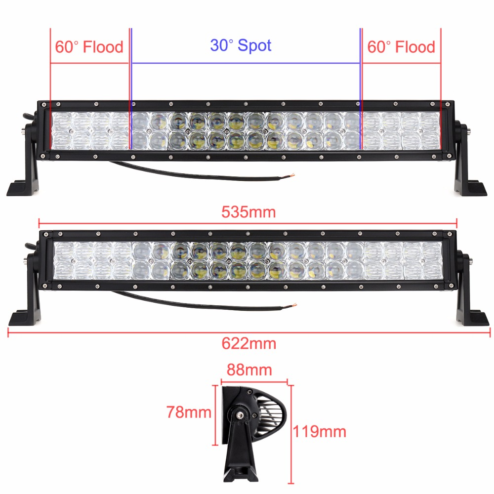 22'' 200W Car LED Straight Dual-Row Worklight Bar 40x 5D Chips Combo Offroad Car Light Driving Lamp for Truck SUV 4X4 4WD ATV