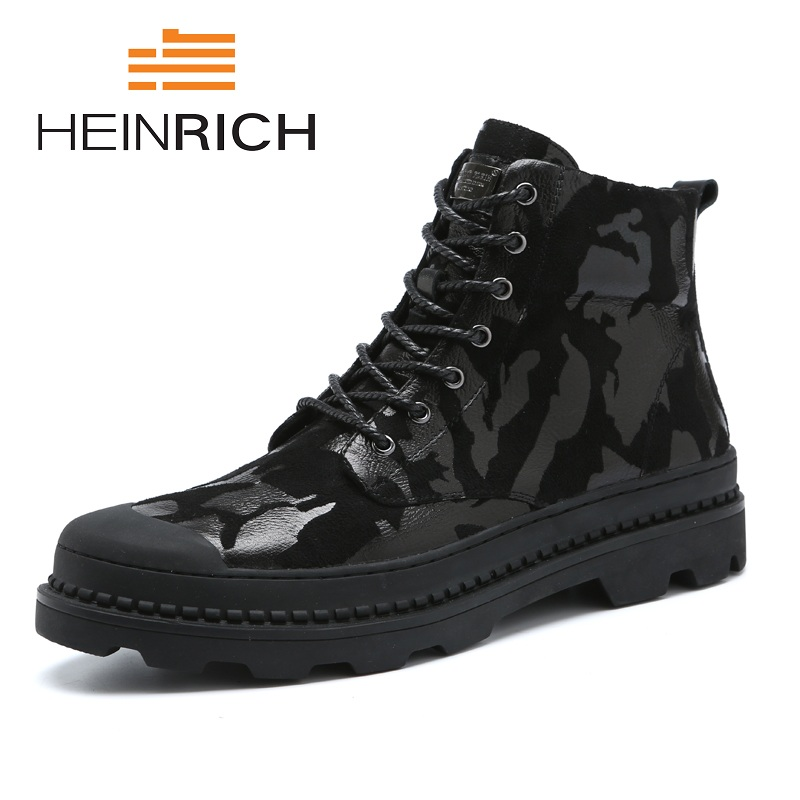 HEINRICH 2018 Black Camo Lace Up Men's Fashion Boots Design Casual High Top Genuine Leather Men Boots Botas Militares Hombre pink lace up design long sleeves top and pleated design skirt two piece outfits