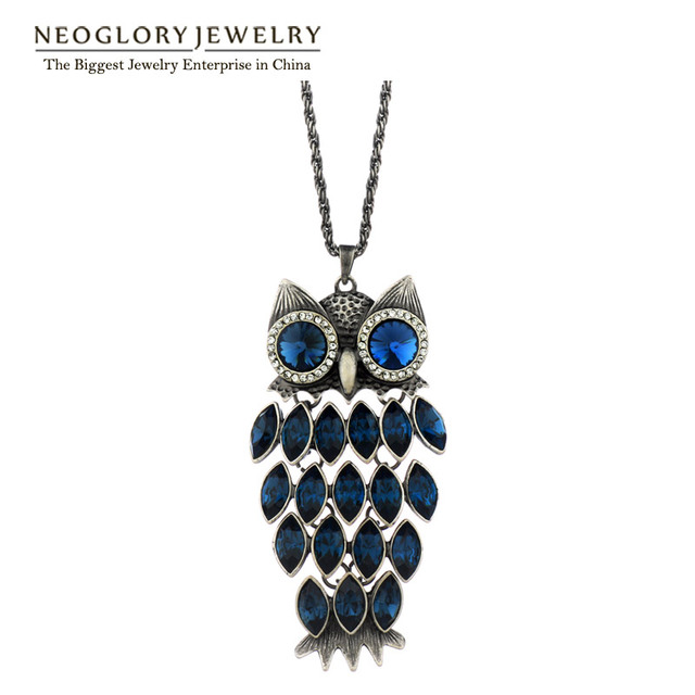 Neoglory Owl Austrian Crystal Long Tassal Necklaces Statement Fashion Teens Birthstone Gifts  Jewelry 2017 New Hot