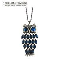Neoglory coruja declaração colares de cristal austríaco longo tassal moda adolescentes presentes birthstone jóias 2017 new hot
