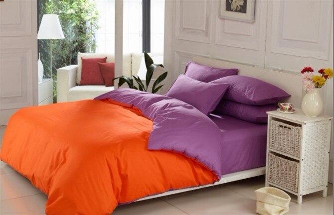 King size queen bedding set quilt doona duvet cover double bed sheet bedspreads cotton orange purple pink blue grey red green