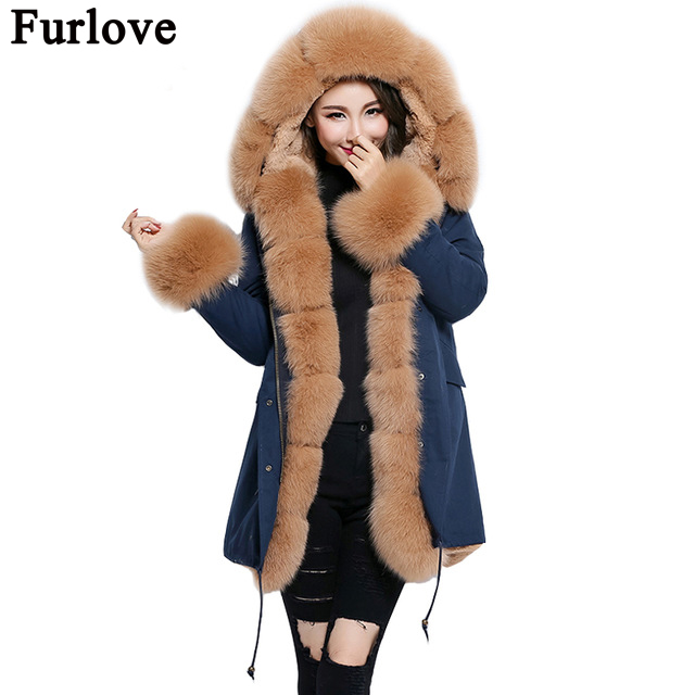 Furlove 2017 long Army green winter jacket coat women outwear warm thick parka natural real fox fur collar coat hooded ukraine mitilary green fox fur jacket for women long style fur jacket 2016 winter warm padded coat