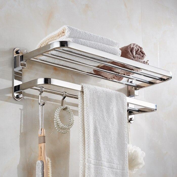 Auswind Современная нержавеющая сталь 304 вешалка для полотенец серебро польский Туалет полка с крючками стену ванной оборудования Комплект