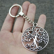 New Vintage Keychain Antique Silver Color 57x50mm Tree Pendant Key Chain Ring Holder Dropshipping