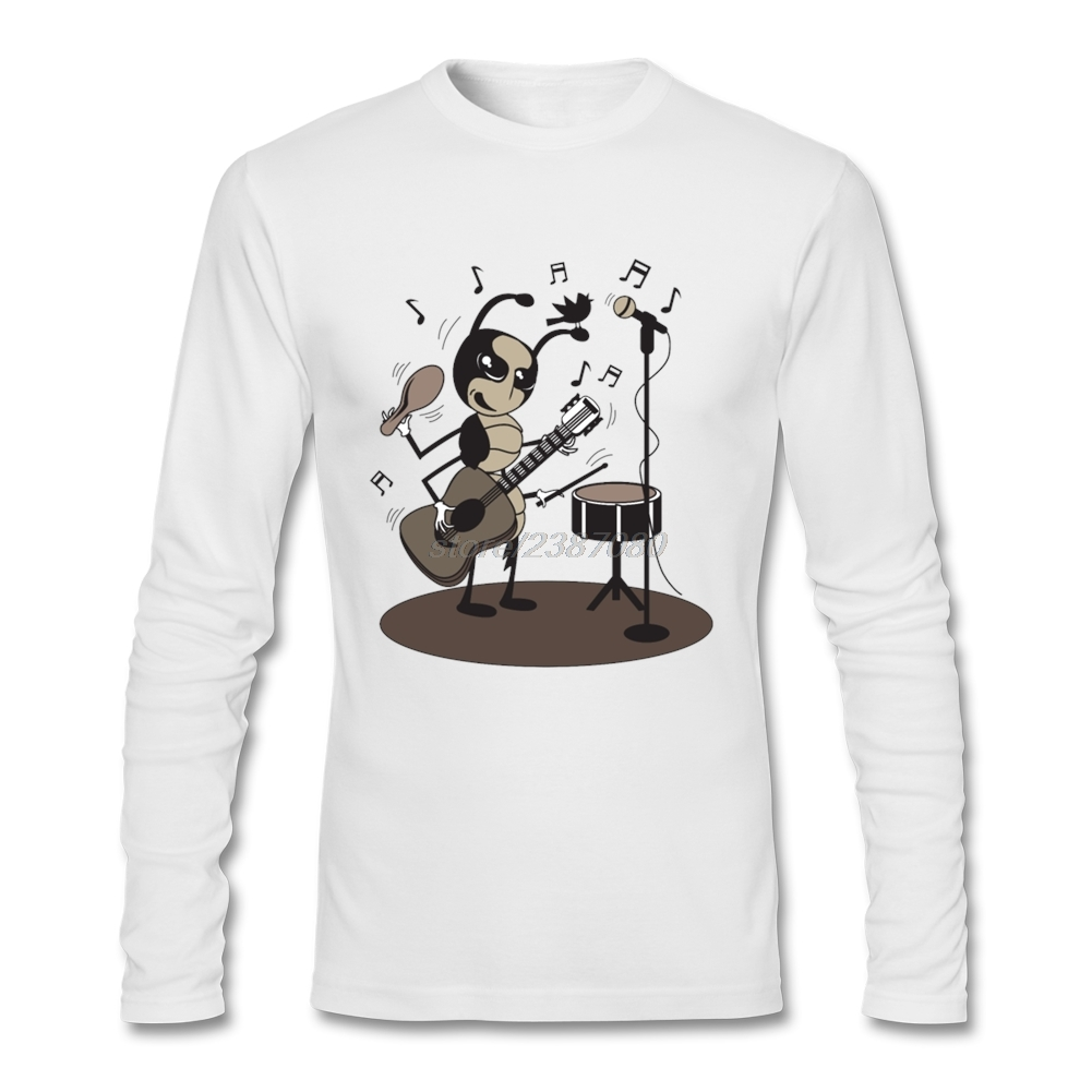 T Shirt Men Cotton Round Collar For Man play the drum & guitar ant and bird music notes Long Sleeved Tshirs Mens Tee Shirt