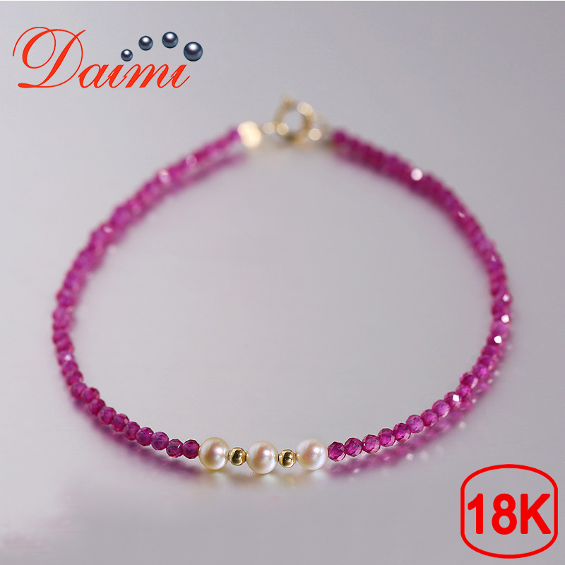 DAIMI Genuine Female Bracelet Spinel 3.5-4mm Akoya Pearl 18K Gold Bracelet Jewelry Gift For WDAIMI Genuine Female Bracelet Spinel 3.5-4mm Akoya Pearl 18K Gold Bracelet Jewelry Gift For W