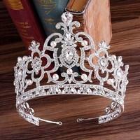 Rhinestone Pearl Hollow Bridal Tiaras Crown Crystal Bride Diadem Hair Ornaments Wedding Hair Accessories Jewelry for Women SL