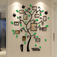 цена на Acrylic 3D Photo Frame Tree Shape Wall Stickers Removable DIY Art Wall Poster Decals For Living Room Bedroom Home Decoration