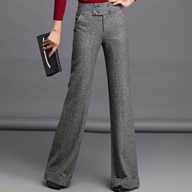 f2134f2d66652 2018 moda Otoño Invierno mujer Lana gris Pantalones mujer casual Pantalones  anchos señoras Slim lana caliente