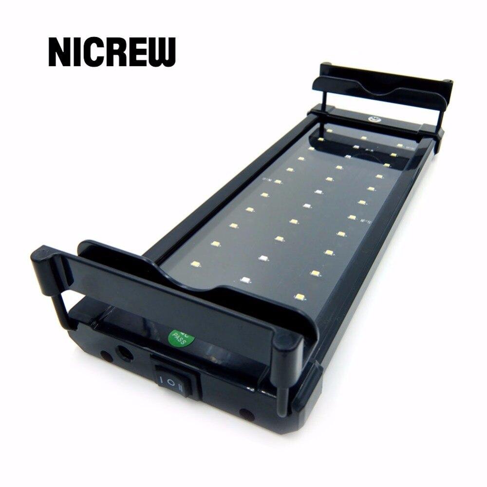 Nicrew LED 28-50cm, iluminación para acuario, pecera, pecera, barra de luz, lámpara de luz LED con soportes extensibles, LED blanco y azul