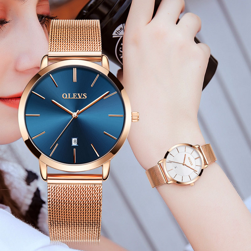 אולטרה דק גבירותיי שעון מותג יוקרה נשים שעונים עמיד למים עלה זהב נירוסטה קוורץ לוח שנה שעון יד montre femme