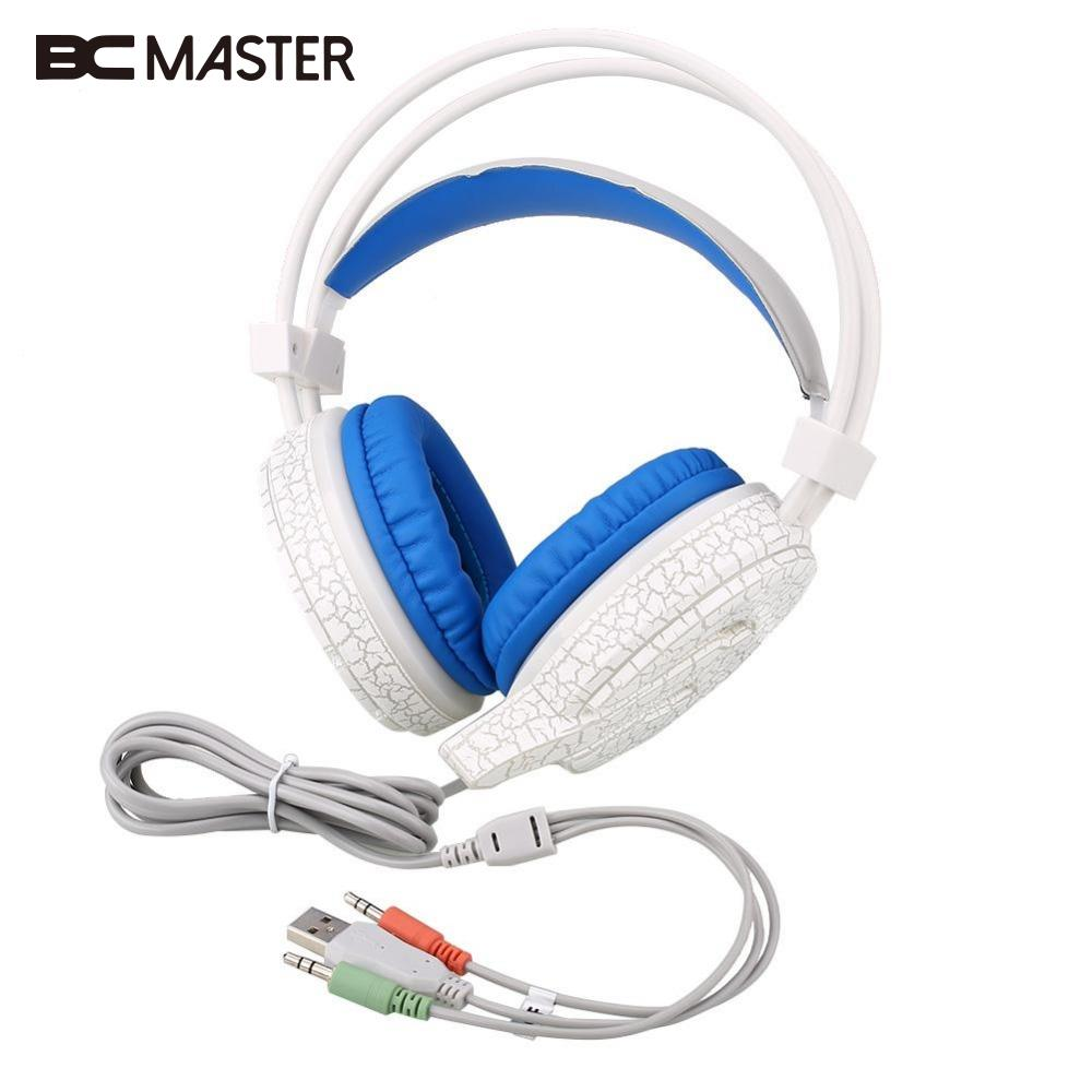 BCMaster USB 3.5mm Wired Game Headset LED Crack Gaming Headphone Earphone w/ MIC For Computer PC Gamer g1100 3 5mm pro gaming headset headphone for ps4 laptop crack pattern led led blue black red white