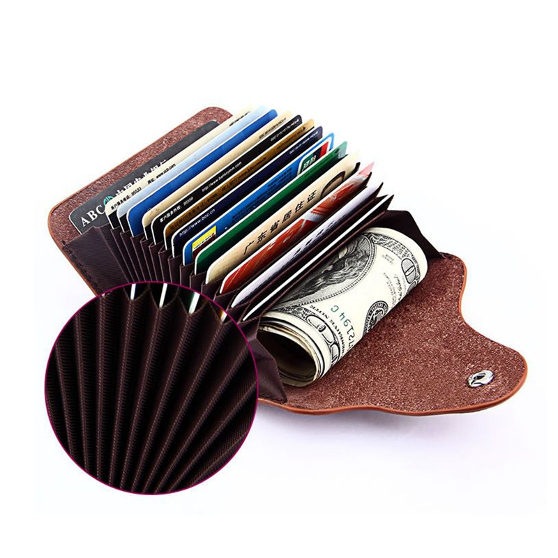 Genuine Leather Men Business Card Holder Wallet Bank Credit Card Case Id Holders Women Cardholder Porte Carte Organizer Purse To Make One Feel At Ease And Energetic Luggage & Bags