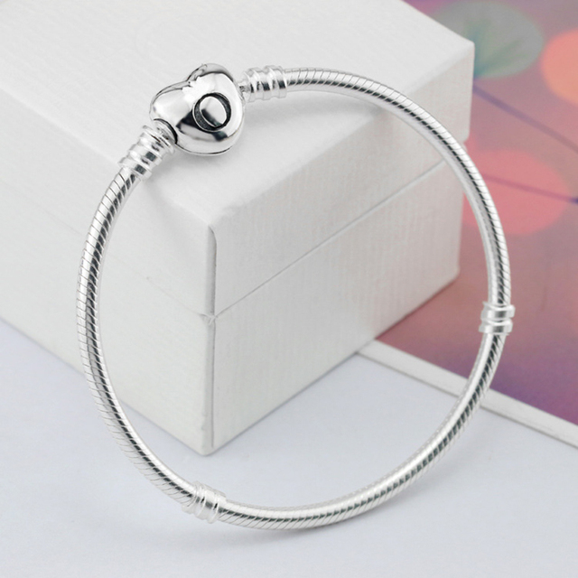 Authentic 100% 925 Sterling Silver Bracelet with Heart Clip Clasp Brand Snake Chain Bracelets for Women X 1 piece Free box