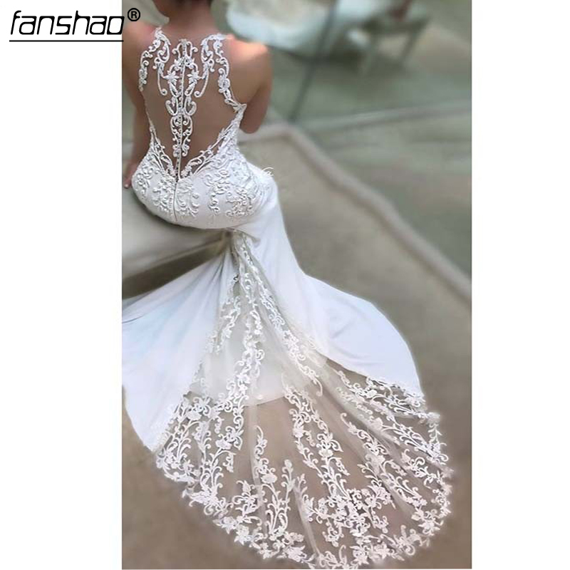 Lace White Mermaid Wedding Dresses Vestido Noiva Simple Appliques Beach Bridal Gowns