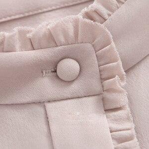Image 5 - 100% schwerer Seide Bluse Frauen Hemd Elegante Patch Einfache Design Lange Ärmel Büro Arbeit Top Anmutigen Stil Neue Mode 2018