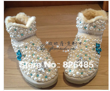 New arrival pearl sparkling diamond snow boots rhinestone pasted cotton boots diy womens boots snow cotton size 39New arrival pearl sparkling diamond snow boots rhinestone pasted cotton boots diy womens boots snow cotton size 39