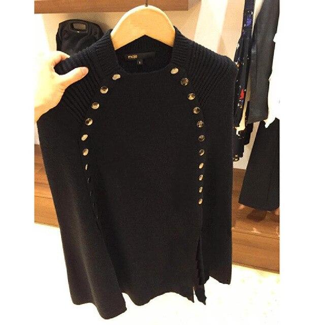 Новая мода зима осень пончо свитер женский двубортный брендовый вязаный свитер и пуловеры Pull Femme джемпер - Цвет: Черный