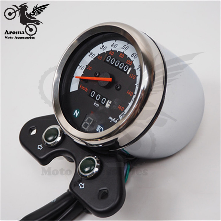 professional retro scooter speed counter silver black motorbike speedometer motorcycle odometer for suzuki GN125 moto tachometer
