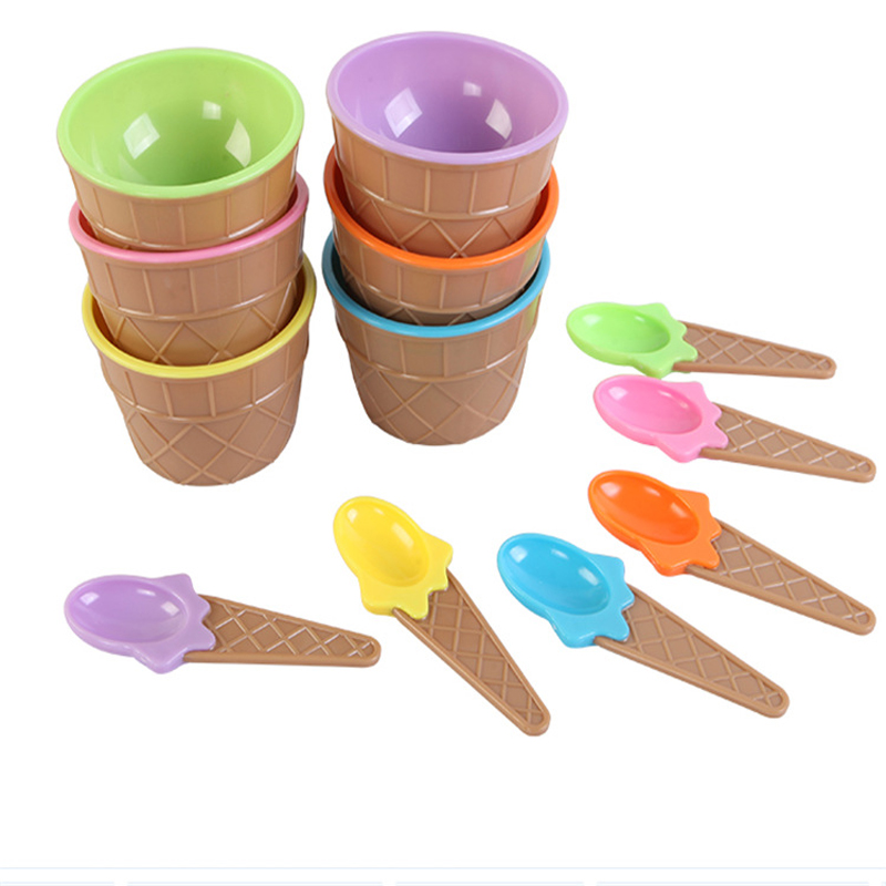 1Set Ice Cream Bowl Spoon Design Slime Box DIY Clay Modeling Toys For Children Charms Clay Fluffy Slime Accessories