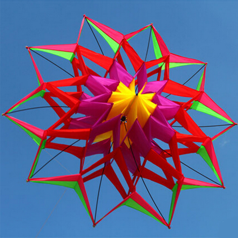 Large Rainbow Colorful 3D Lotus Flower Kite Single Line Outdoor Sports Toy Flying Box Kite For Kids Sport With Flying Tool half round brass ball copper lampshade fabric wire pendant lamp fixture brass lighting led modern style restaurant bedroom light