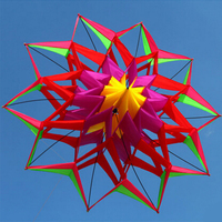 Large Rainbow Colorful 3D Lotus Flower Kite Single Line Outdoor Sports Toy Flying Box Kite For Kids Sport With Flying Tool