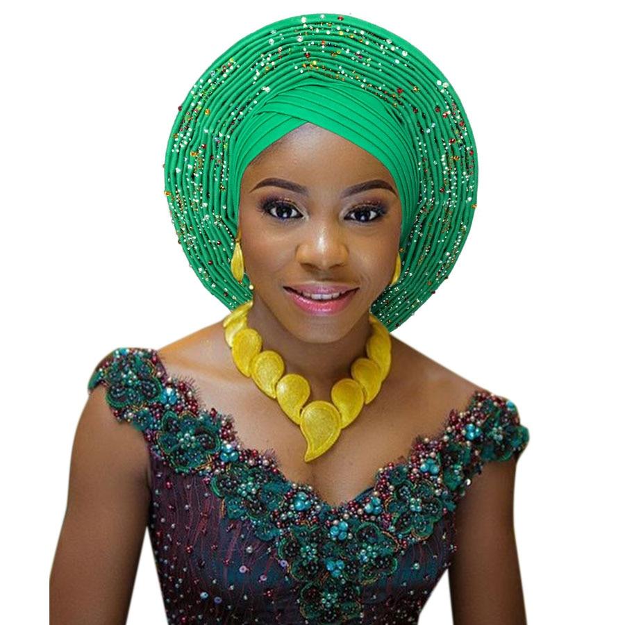2018 New african aso oke cotton headtie nigerian gele headtie already made auto hele turban cap aso ebi big brim gele (8)