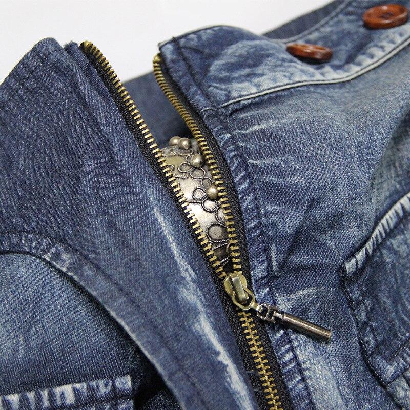 Bal Sans Trois De Femelle Poches Femmes Rétro Bretelles Usure Bleu Cloche Robe En Gland Solide Couleur Spliced Jupes Vintage Lanterne Denim T5O5Z4Bq7
