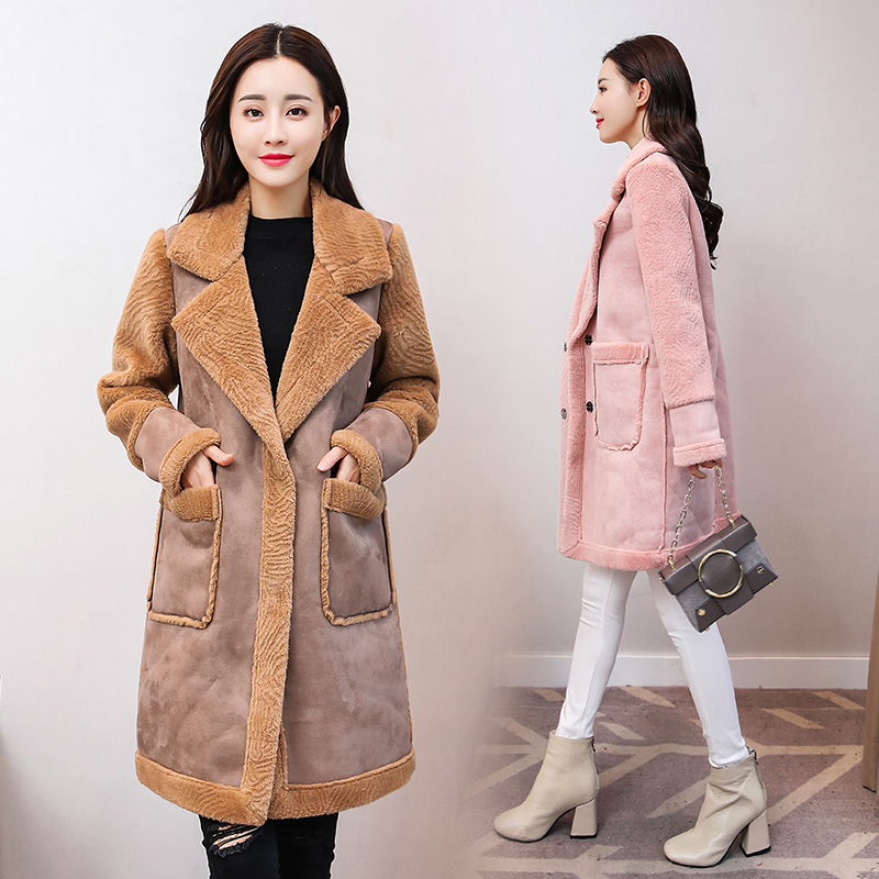 2019 New Winter Faux Shearling   Suede     Leather   Jacket Women Long Lamb Wool Motorcycle Big Pocket Jacket Thick Warm Parkas Coats