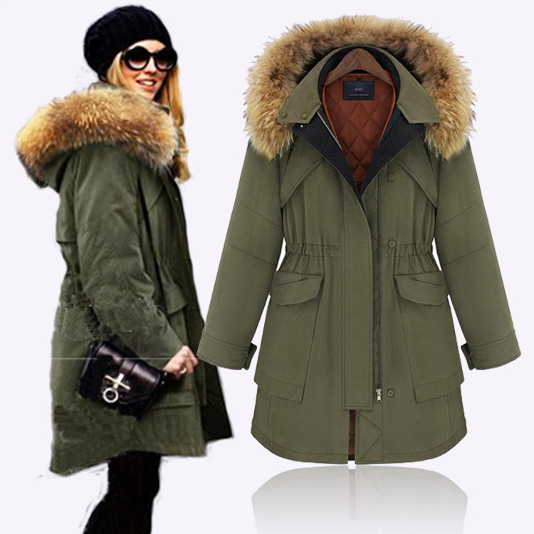 Army Green Coat With Fur Hood 2015 New Big Size Mink Collar Parka ...