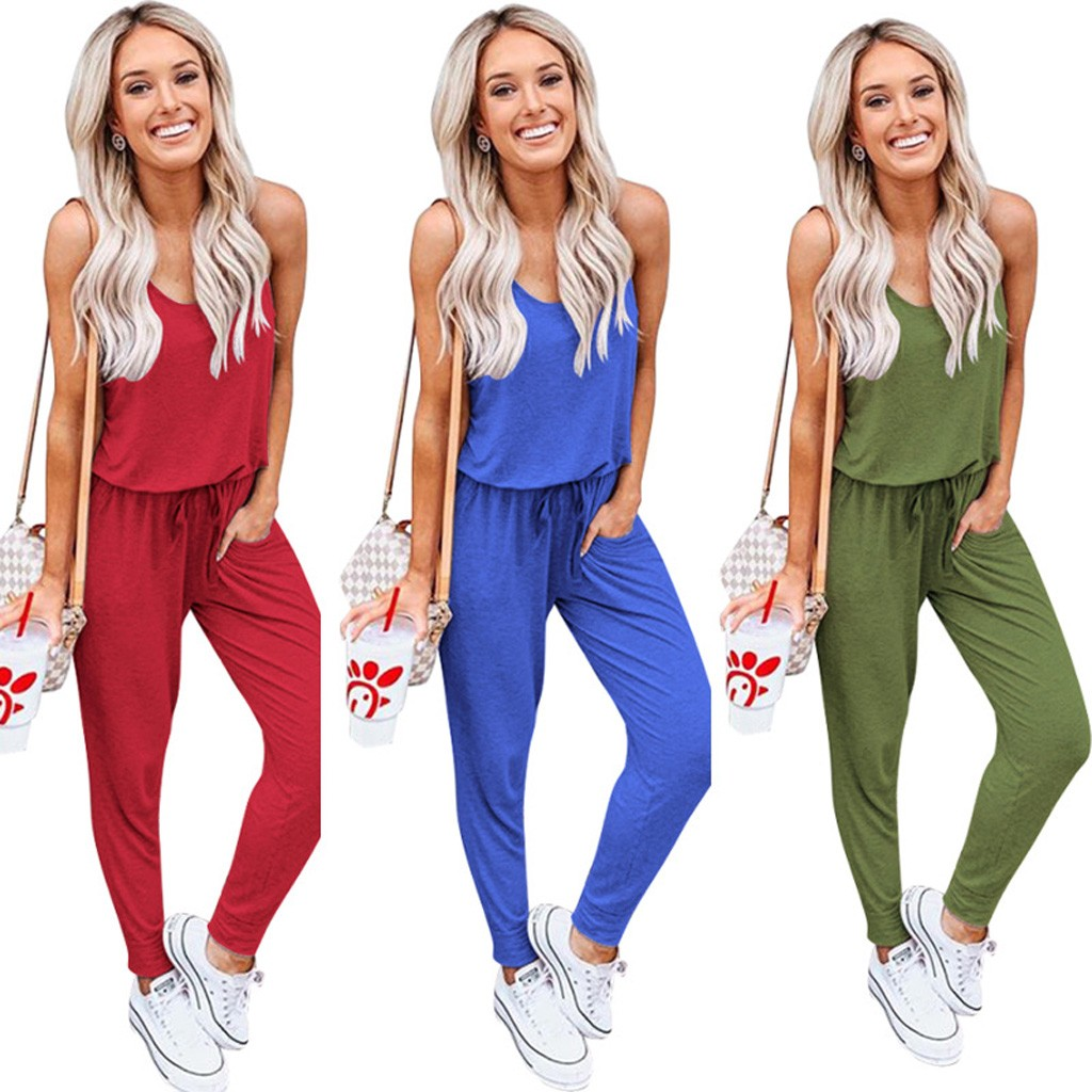 CHAMSGEND Summer Jumpsuit Womens Summer Loose V Neck Spaghetti Strap Short Jumpsuit Rompers 2020 Casual Solid Jumpsuit Apr18
