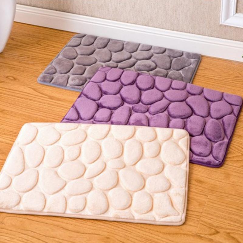 US $4.48 9% OFF|3D Soft Carpet Cobblestone Memory Foam Mats Home Bathroom  Toilet Door Mat Absorbent Non slip Kitchen Floor Rug 40*60cm-in Carpet from  ...
