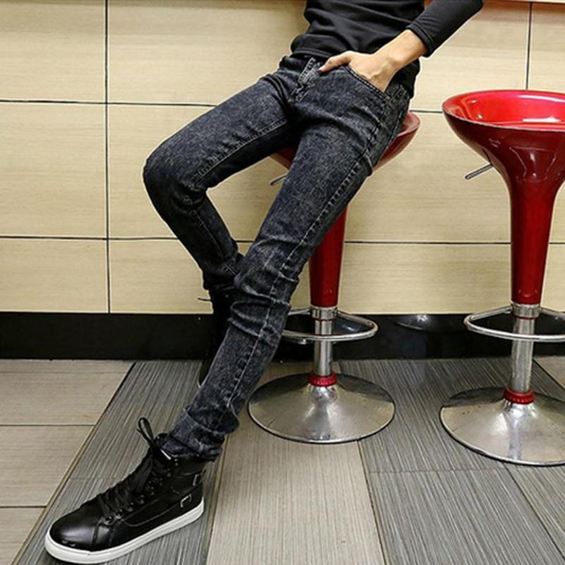 HOT 2018 Fashion Teenagers Boys trousers Halem Denim Slim mens jeans male student slacks straight snowflakes grey pencil pants