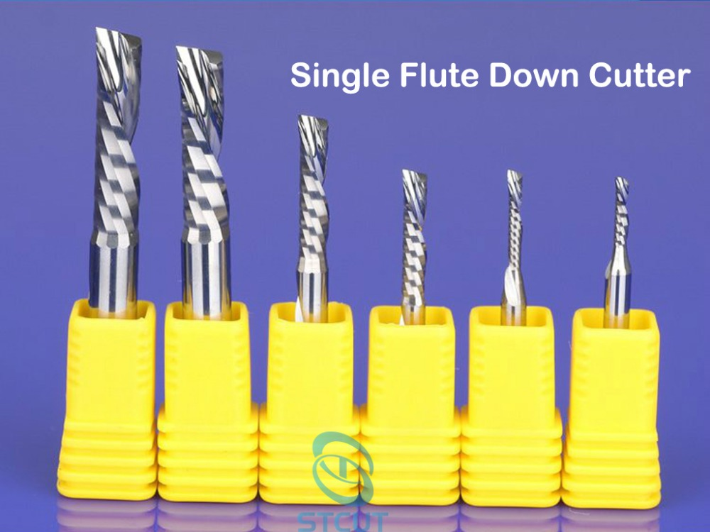 15pcs SHK 4mm single flute down-cut spiral endmills left hand cutting bit for plastic pvc acrylic MDF Aluminum woodworking bit