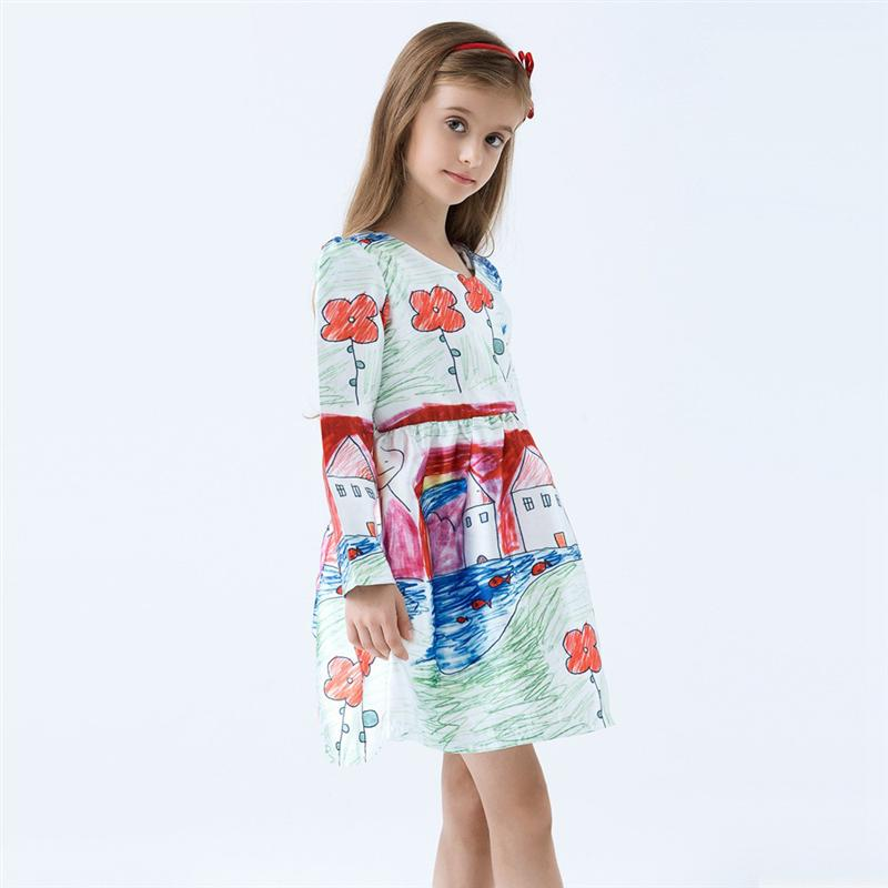 Dress cartoon kids clothes for princess holiday party wedding baby