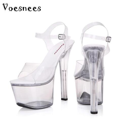 Sandals women Platform model T stage shows sexy high-heeled shoes 15 cm high transparent waterproof sandals Plus-size 34-44