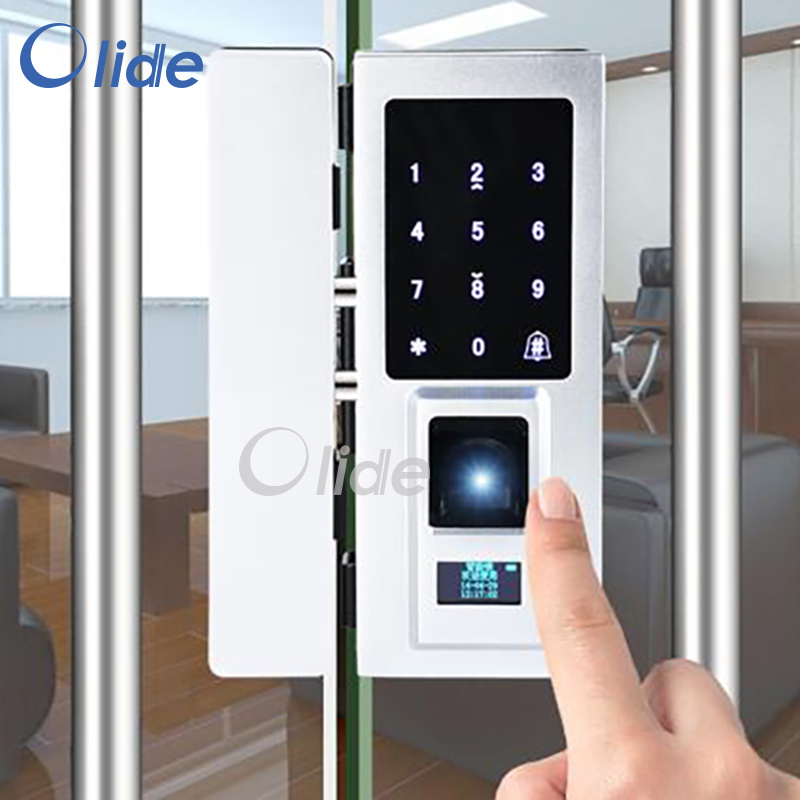 Glass door Fingerprint Door Lock, Fingerprint Door Lock for framless door, Password RFID Card compatible digital electric best rfid hotel electronic door lock for flat apartment