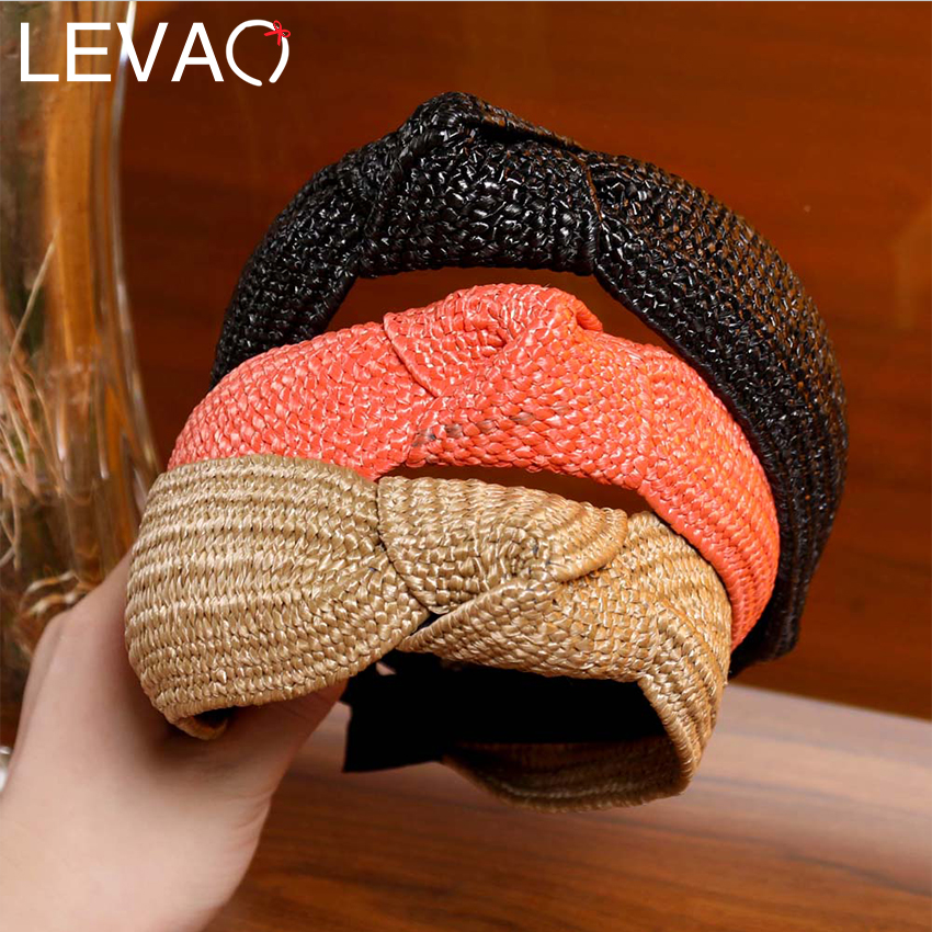 LEVAO New Women Hairband Straw Weaving Knotted Headband Bohemian Wide Cross Knot Hair Bands Hoop Bezel Handmade Hair Accessories