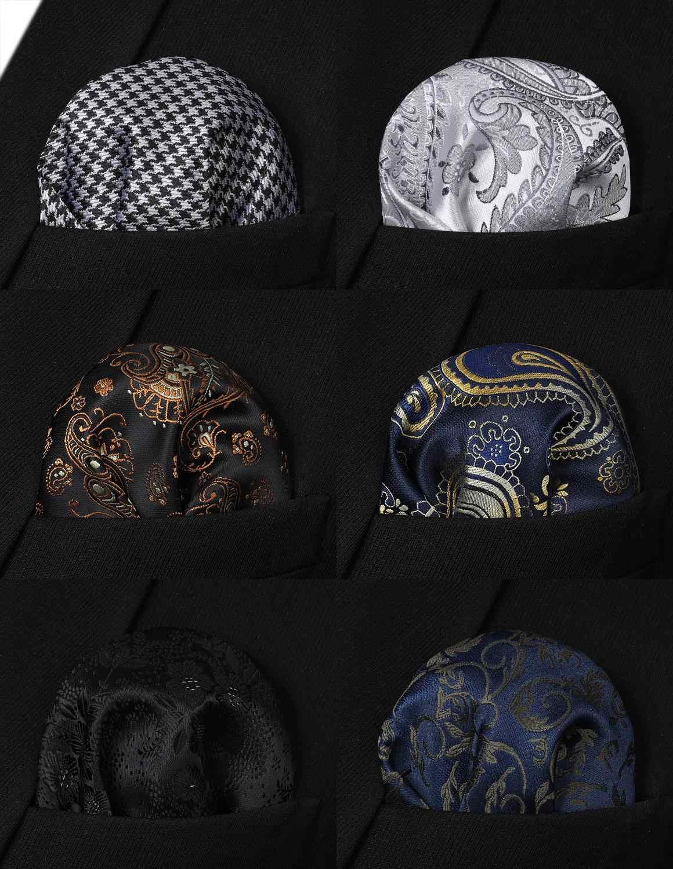 Hisdern 6 шт Ассорти классических узоров мужские Пейсли Цветочные клетчатые квадранные Карманные Платки свадебный подарок