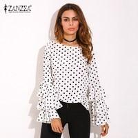 Plus Size S 5XL ZANZEA Women O Neck Polka Dots Floral Tops Shirt Vintage Ladies Ruffled