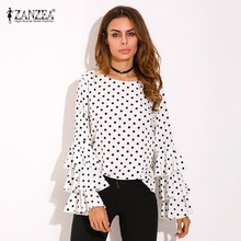 Plus Size ZANZEA Women O-Neck Polka Dots Floral Tops Shirt Elegant Ladies Long Ruffled Flared Sleeve Casual Party Blouse Blusas