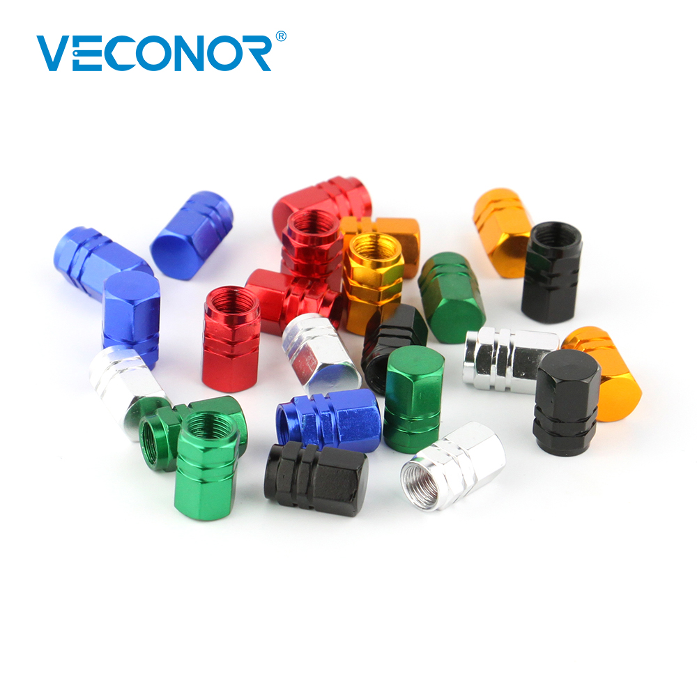 VECONOR 4pcs Universal Aluminum Hexgon Style Auto Car Tyre Valve Caps Motorcycle Bicycle Wheel Tire Valve Cap ryanstar racing car universal 16 5mm aluminum alloy tire tyre valve caps