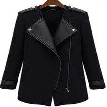 2015 winter coat women Casual jacket Contrast PU Leather Trims Oblique Zipper Wool & Blends Coat casacos jacket for women LW277