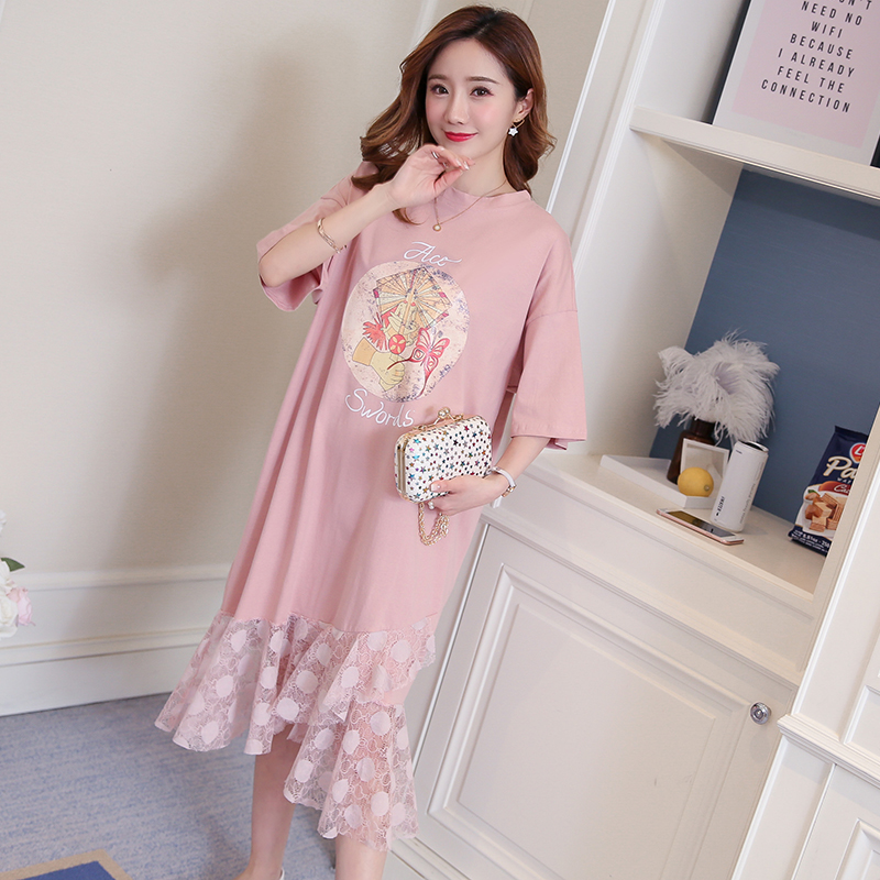 Lace Maternity Clothes Pregnancy Dress Floral Bohemian Loose Maternity Clothing Of Pregnant Women Chiffon White
