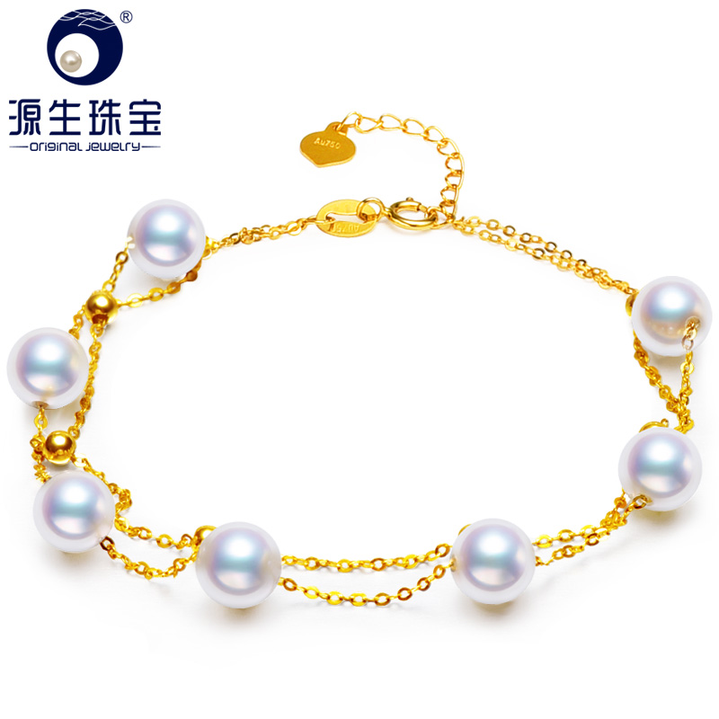 YS Au750 18K Yellow Gold 5 6mm Natural Cultured Freshwater Pearl Bracelet Fine Jewelry