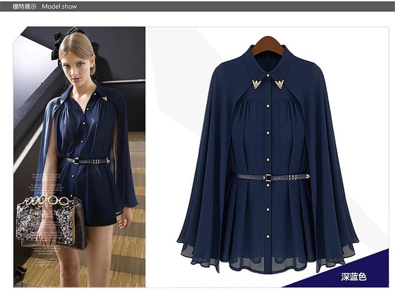 vestidos de fiesta Womens Chiffon Cloak Blouse Shirts Tops Elegant Navy Blue Beige Chiffon Cloak Sunscreen Tops Ladies Fashion  (13)